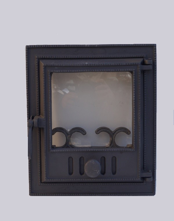 drzwiczki żeliwne z szybą prostokątne kominkowe piecowe do kominka do pieca hermetyczne 00613