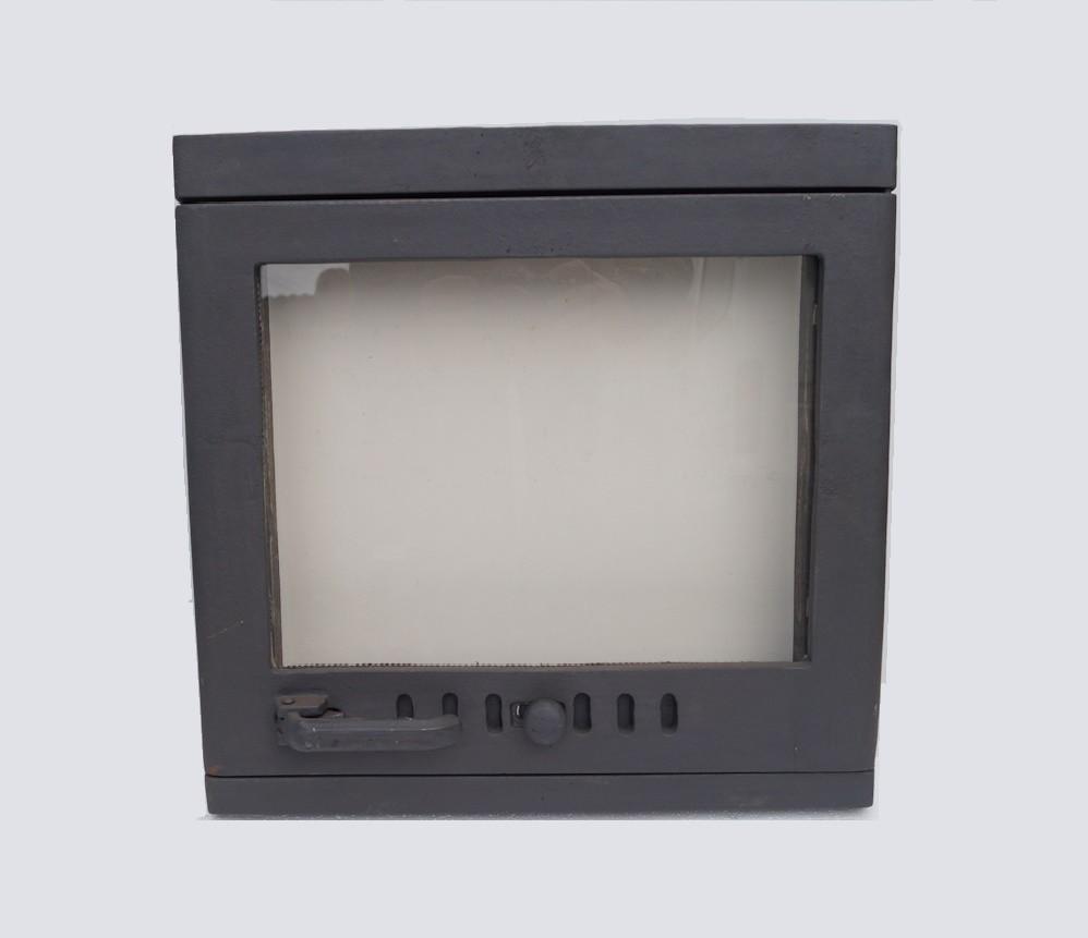 drzwiczki żeliwne kominkowe do kominka z szybą prostokątne piecowe do pieca chlebowe 00607