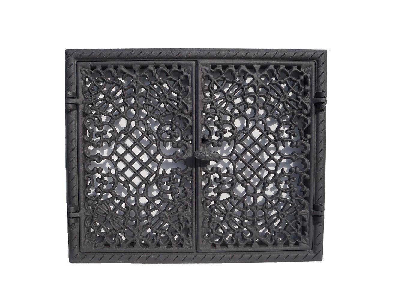 drzwiczki żeliwne ażurowe prostokątne dwuskrzydłowe do kominka wędzarni grilla 00027
