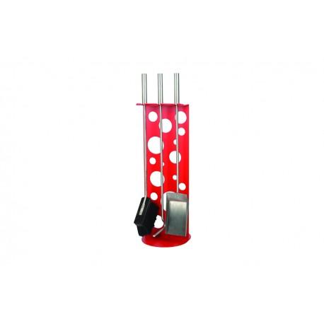 AM01R zestaw kominkowy akcesoria kominkowe w kolorze czerwonym, designerski, stylowy, w nowoczesnym stylu, przybornik, miotła, miotełka, pogrzebacz, szufelka, łopatka