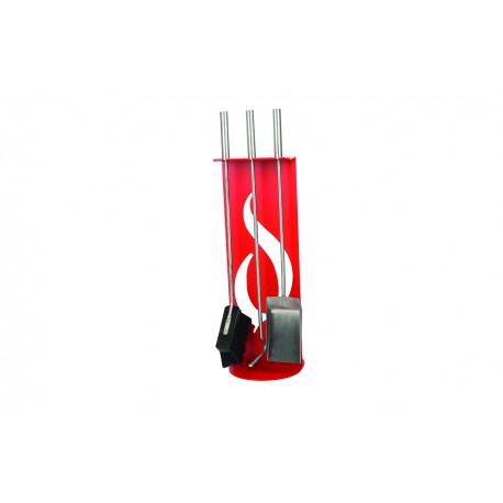 AM03R zestaw kominkowy akcesoria kominkowe w kolorze czerwonym, designerski, stylowy, w nowoczesnym stylu, przybornik, miotła, miotełka, pogrzebacz, szufelka, łopatka