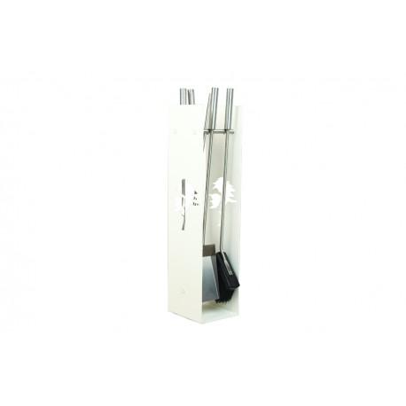 AD02W zestaw kominkowy akcesoria kominkowe w kolorze białym, designerski, stylowy, w nowoczesnym stylu, przybornik, miotła, miotełka, pogrzebacz, szufelka, łopatka, szczypce