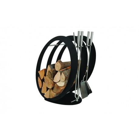 SA001B designerski stojak / kosz na drewno z akcesoriami doskonały do wnętrz w nowoczesnej stylistyce, zestaw kominkowy akcesoria kominkowe , designerski, stylowy, w nowoczesnym stylu, przybornik, miotła, miotełka, pogrzebacz, szufelka, łopatka, szczypce, czarny, czerń, w kolorze czarnym