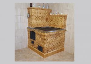 Kuchnia kaflowa z brązowych kafli czterofajerkowa wykonawca Firma ZDUNMAR Marcin Głogowski www.zdunmar.pl