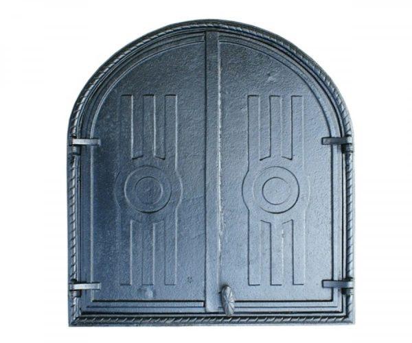 drzwiczki,żeliwne,półokrągłe,dwuskrzydłowe,wędzarniowe,do wędzarni,wędzarnia,grillowędzarnia 00016
