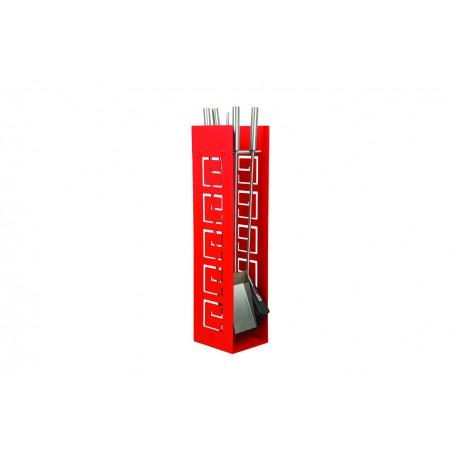 AD01R zestaw kominkowy akcesoria kominkowe w kolorze czerwonym, designerski, stylowy, w nowoczesnym stylu, przybornik, miotła, miotełka, pogrzebacz, szufelka, łopatka, szczypce