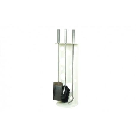 AM01W zestaw kominkowy akcesoria kominkowe w kolorze białym, designerski, stylowy, w nowoczesnym stylu, przybornik, miotła, miotełka, pogrzebacz, szufelka, łopatka