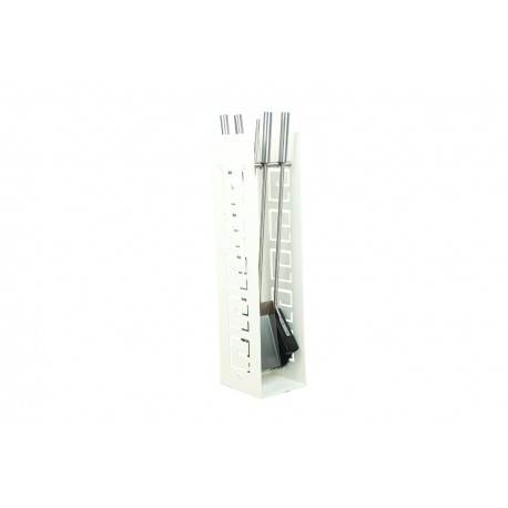 AD01W zestaw kominkowy akcesoria kominkowe w kolorze białym, designerski, stylowy, w nowoczesnym stylu, przybornik, miotła, miotełka, pogrzebacz, szufelka, łopatka, szczypce
