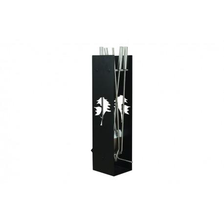 AD02B zestaw kominkowy akcesoria kominkowe w kolorze czarnym, designerski, stylowy, w nowoczesnym stylu, przybornik, miotła, miotełka, pogrzebacz, szufelka, łopatka, szczypce
