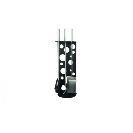 AM01B zestaw kominkowy akcesoria kominkowe w kolorze czarnym, designerski, stylowy, w nowoczesnym stylu, przybornik, miotła, miotełka, pogrzebacz, szufelka, łopatka