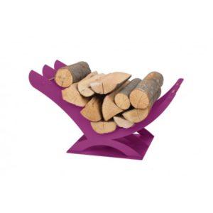 K01F designerski stojak / kosz na drewno doskonały do wnętrz w nowoczesnej stylistyce fioletowy