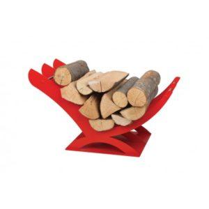K01R designerski stojak / kosz na drewno doskonały do wnętrz w nowoczesnej stylistyce czerwony,czerwień