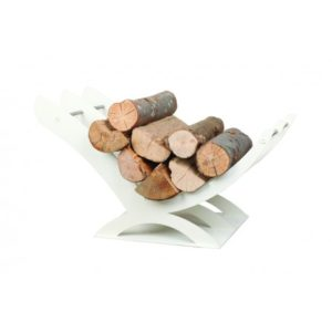 K01W designerski stojak / kosz na drewno doskonały do wnętrz w nowoczesnej stylistyce biały, biel