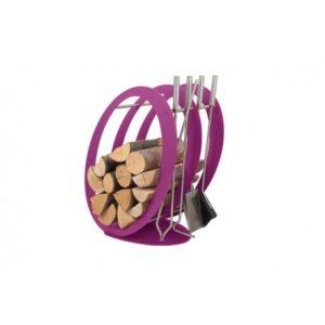 SA001F designerski stojak / kosz na drewno z akcesoriami doskonały do wnętrz w nowoczesnej stylistyce, zestaw kominkowy akcesoria kominkowe , designerski, stylowy, w nowoczesnym stylu, przybornik, miotła, miotełka, pogrzebacz, szufelka, łopatka, szczypce, fioletowy, fiolet, w kolorze fioletowym