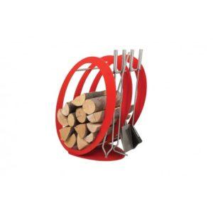 SA001R designerski stojak / kosz na drewno z akcesoriami doskonały do wnętrz w nowoczesnej stylistyce, zestaw kominkowy akcesoria kominkowe , designerski, stylowy, w nowoczesnym stylu, przybornik, miotła, miotełka, pogrzebacz, szufelka, łopatka, szczypce, czerwony, czerwień, w kolorze czerwonym