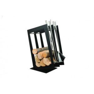 SA002B designerski stojak / kosz na drewno z akcesoriami doskonały do wnętrz w nowoczesnej stylistyce, zestaw kominkowy akcesoria kominkowe , designerski, stylowy, w nowoczesnym stylu, przybornik, miotła, miotełka, pogrzebacz, szufelka, łopatka, szczypce, czarny, czerń, w kolorze czarnym