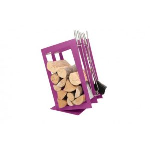 SA002F designerski stojak / kosz na drewno z akcesoriami doskonały do wnętrz w nowoczesnej stylistyce, zestaw kominkowy akcesoria kominkowe , designerski, stylowy, w nowoczesnym stylu, przybornik, miotła, miotełka, pogrzebacz, szufelka, łopatka, szczypce, fioletowy, fiolet, w kolorze fioletowym