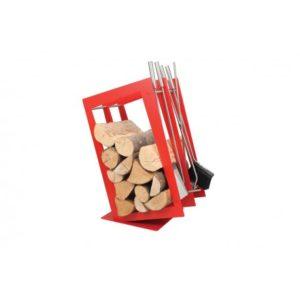SA002R designerski stojak / kosz na drewno z akcesoriami doskonały do wnętrz w nowoczesnej stylistyce, zestaw kominkowy akcesoria kominkowe , designerski, stylowy, w nowoczesnym stylu, przybornik, miotła, miotełka, pogrzebacz, szufelka, łopatka, szczypce, czerwony, czerwień, w kolorze czerwonym