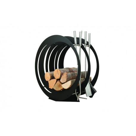 SA003B designerski stojak / kosz na drewno z akcesoriami doskonały do wnętrz w nowoczesnej stylistyce, zestaw kominkowy akcesoria kominkowe , designerski, stylowy, w nowoczesnym stylu, przybornik, miotła, miotełka, pogrzebacz, szufelka, łopatka, szczypce, czarny, czerń, w kolorze czarnym
