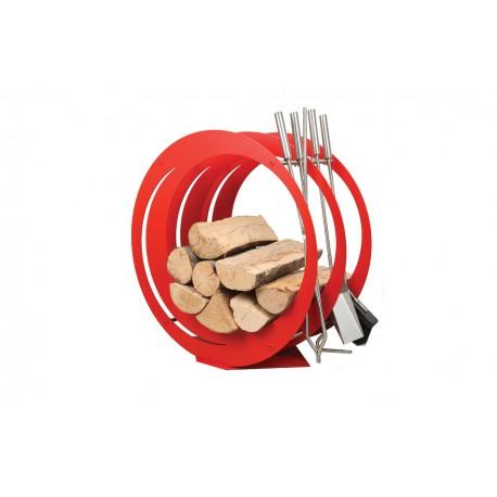 SA003R designerski stojak / kosz na drewno z akcesoriami doskonały do wnętrz w nowoczesnej stylistyce, zestaw kominkowy akcesoria kominkowe , designerski, stylowy, w nowoczesnym stylu, przybornik, miotła, miotełka, pogrzebacz, szufelka, łopatka, szczypce, czerwony, czerwień, w kolorze czerwonym