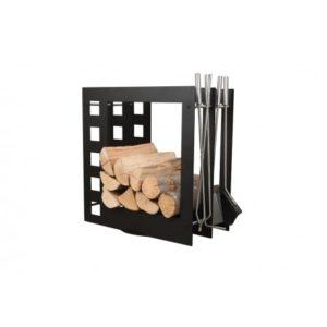 SA004B designerski stojak / kosz na drewno z akcesoriami doskonały do wnętrz w nowoczesnej stylistyce, zestaw kominkowy akcesoria kominkowe , designerski, stylowy, w nowoczesnym stylu, przybornik, miotła, miotełka, pogrzebacz, szufelka, łopatka, szczypce, czarny, czerń, w kolorze czarnym