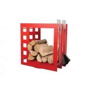 SA004R designerski stojak / kosz na drewno z akcesoriami doskonały do wnętrz w nowoczesnej stylistyce, zestaw kominkowy akcesoria kominkowe , designerski, stylowy, w nowoczesnym stylu, przybornik, miotła, miotełka, pogrzebacz, szufelka, łopatka, szczypce, czerwony, czerwień, w kolorze czerwonym