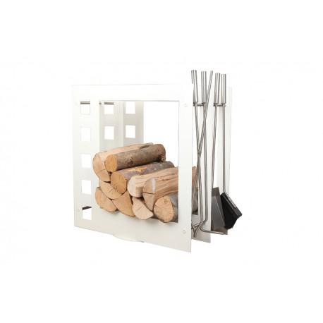 SA004W designerski stojak / kosz na drewno z akcesoriami doskonały do wnętrz w nowoczesnej stylistyce, zestaw kominkowy akcesoria kominkowe , designerski, stylowy, w nowoczesnym stylu, przybornik, miotła, miotełka, pogrzebacz, szufelka, łopatka, szczypce, biały, biel, w kolorze białym